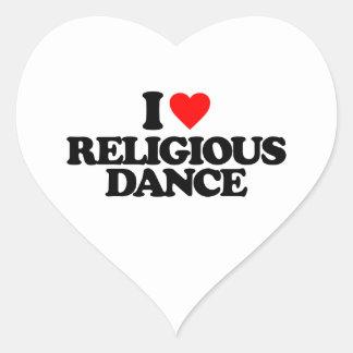 I LOVE RELIGIOUS DANCE HEART STICKER