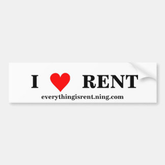 I Love RENT Bumper Sticker
