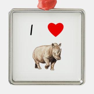 I Love Rhinos (2) Silver-Colored Square Ornament