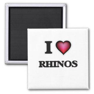 I Love Rhinos Square Magnet