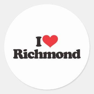 I Love Richmond Round Sticker