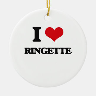 I Love Ringette Round Ceramic Ornament