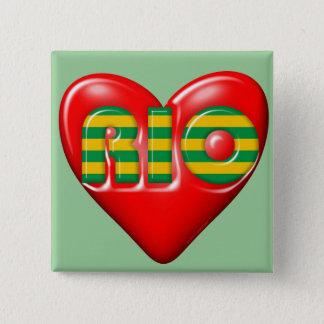 I Love Rio De Janeiro 2 Inch Square Button