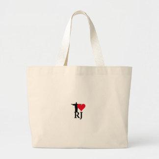 I Love River of Janerio Brazil Series Large Tote Bag