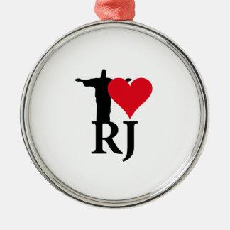 I Love River of Janerio Brazil Series Metal Ornament