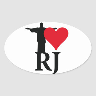 I Love River of Janerio Brazil Series Oval Sticker