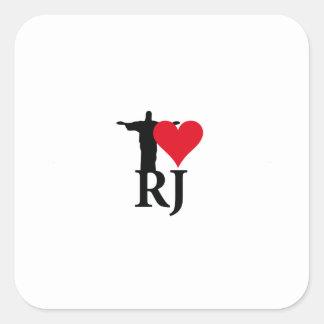 I Love River of Janerio Brazil Series Square Sticker