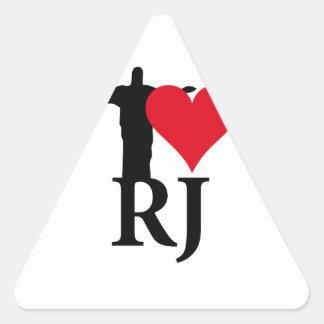 I Love River of Janerio Brazil Series Triangle Sticker