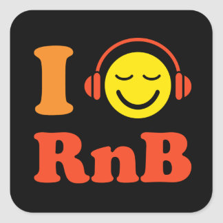 I love RnB music smiley with headphones stickers