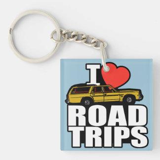 I Love Road Trips Single-Sided Square Acrylic Keychain