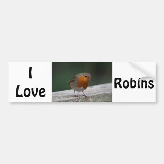 I Love Robins Bumper Sticker