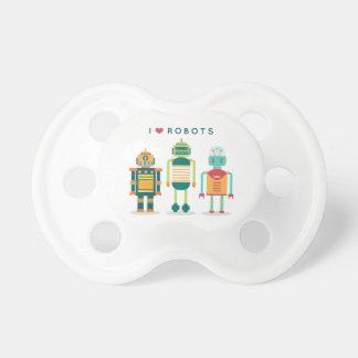 I love robots - unique bib for cool kids pacifier