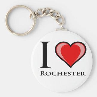 I Love Rochester Basic Round Button Keychain