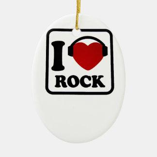 I love Rock Ceramic Ornament