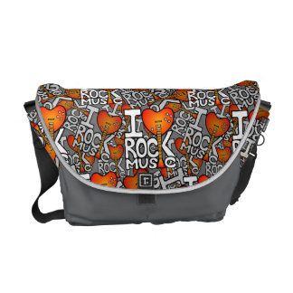 I love rock music courier bag