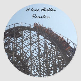 I love Roller Coasters stciker Classic Round Sticker