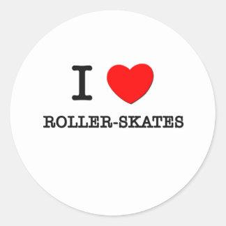 I Love Roller-Skates Round Sticker