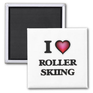 I Love Roller Skiing Square Magnet