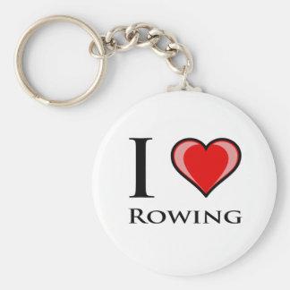 I Love Rowing Keychain