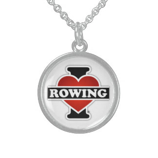 I Love Rowing Sterling Silver Necklace