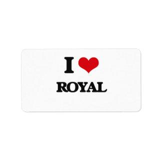 I Love Royal Address Label