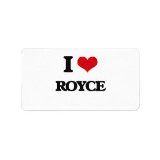 I Love Royce Address Label