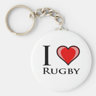 I Love Rugby Keychain