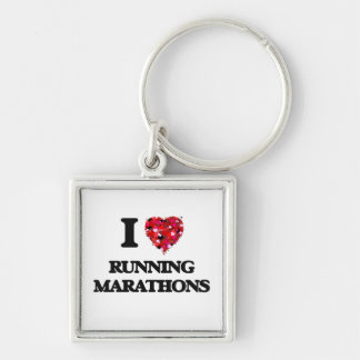I love Running Marathons Silver-Colored Square Keychain