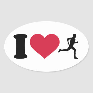I love running oval sticker