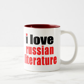 I Love Russian Literature Two-Tone Coffee Mug