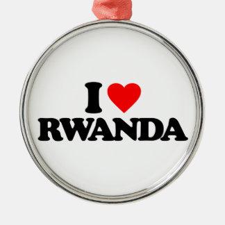 I LOVE RWANDA METAL ORNAMENT