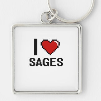 I love Sages Silver-Colored Square Keychain
