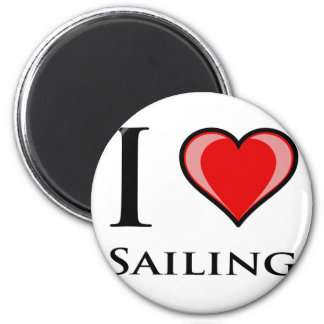 I Love Sailing 2 Inch Round Magnet