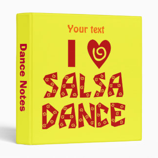 I Love Salsa Dance Custom Notes 3 Ring Folder 3 Ring Binders