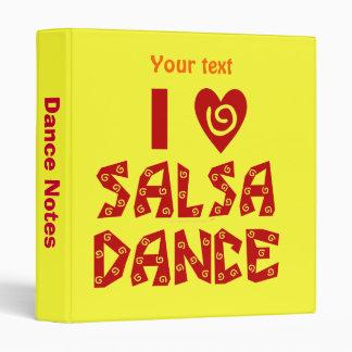 I Love Salsa Dance Custom Notes 3 Ring Folder Binder