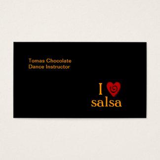 I Love Salsa Swirl Heart Latin Dancing Custom Business Card
