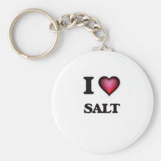 I Love Salt Basic Round Button Keychain