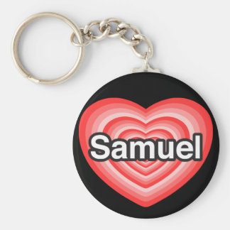 I love Samuel. I love you Samuel. Heart Basic Round Button Keychain