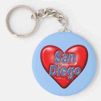 I Love San Diego Basic Round Button Keychain