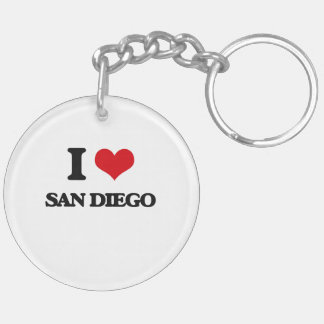 I love San Diego Double-Sided Round Acrylic Keychain