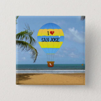 I Love San Jose Hot Air Balloon Beach Scene 2 Inch Square Button