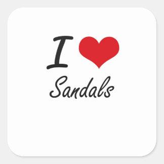 I Love Sandals Square Sticker