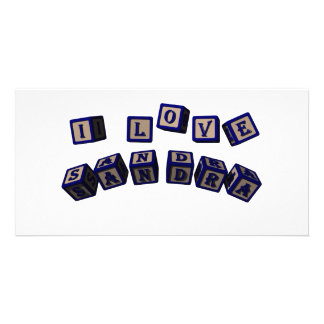 I love Sandra toy blocks in blue Picture Card