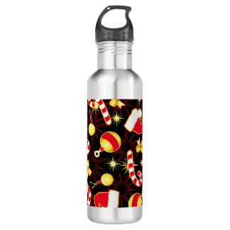 I love Santa seamless pattern black.ai 710 Ml Water Bottle