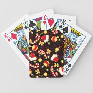I love Santa seamless pattern black.ai Bicycle Playing Cards