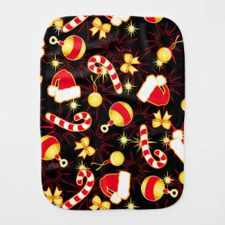 I love Santa seamless pattern black.ai Burp Cloth