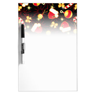 I love Santa seamless pattern black.ai Dry Erase Board