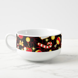 I love Santa seamless pattern black.ai Soup Bowl With Handle