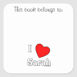 I Love Sarah Square Sticker