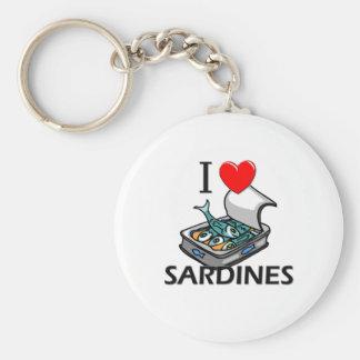 I Love Sardines Basic Round Button Keychain